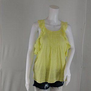 Universal Thread Ruffled Sleeves Neon Yellow Top